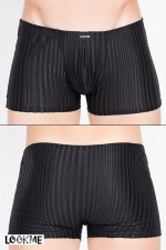 Boxer Wellness : Boxer noir moulant rayé de lignes jersey transparentes, juste ce qu'il faut de sensualité.