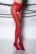 Collants ouverts TI008 - rouge : Collants ouverts en voile rouge 30 deniers, avec une large ceinture en dentelle élastique.