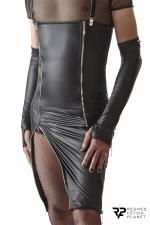 Robe zippée à bretelles amovibles - Regnes : Superbe robe en tissu wetlook avec des fermetures éclair argentées et des bretelles ayant la particularité d'être amovibles.
