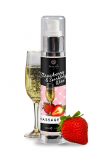 Huile de massage fraise et vin pétillant - Secret Play : Huile de massage érotique au parfum Vin pétillant à la fraise et enrichie en extrait de truffe.