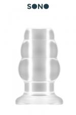 Plug anal creux taille S - SONO - Petit plug anal translucide, creux au milieu, 7,7 cm de long par 4,3 cm de diamètre maxi.